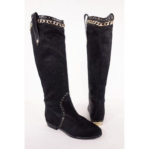 JUST CAVALLI New 7 37 Pony Hair Chain Cowboy Boots
